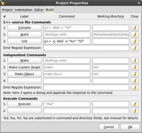 Project properties Dialog Build Tab