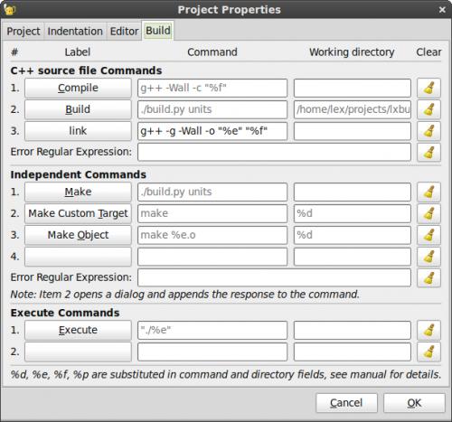 Project properties Dialog Build Tab